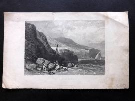 After Harding 1846 Antique Print. Vico, Bay of Naples. Italy